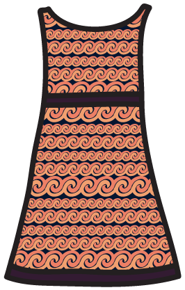 A gradation pattern on an A-line dress.
