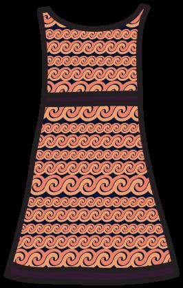 A gradation pattern on an A-line dress.