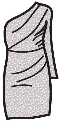 A dotted-swiss pattern on a Grecian dress.