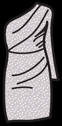 A dotted-swiss pattern on a Grecian dress.