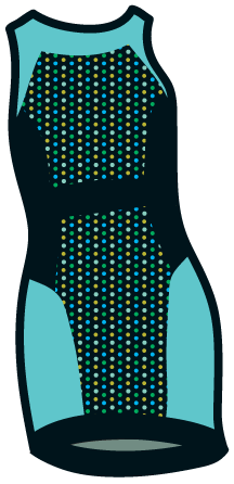 A polka-dot pattern on a panel in a body-conscious mini dress.