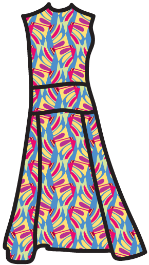 A  non-objective pattern on a  fitted-and-flared dress.