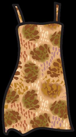 A blotch pattern on a pinafore dress.