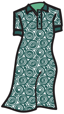 A bull's eye pattern on a polo dress.