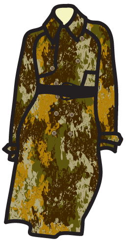 A camouflage pattern on a safari dress.