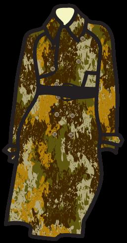 A camouflage pattern on a safari dress.