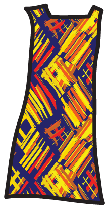 An abstract pattern on a shift dress.