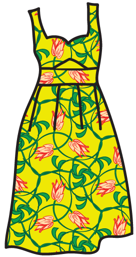 An Art-Nouveau pattern on a sun dress.