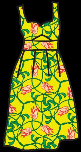An Art-Nouveau pattern on a sun dress.