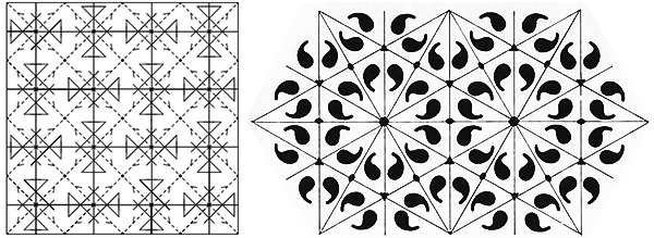 An asymmetrical object in a pattern, from McLenaghan and Levy and Stevens (right)