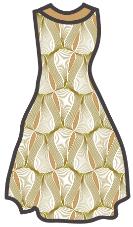 An eccentric pattern on a tea dress.