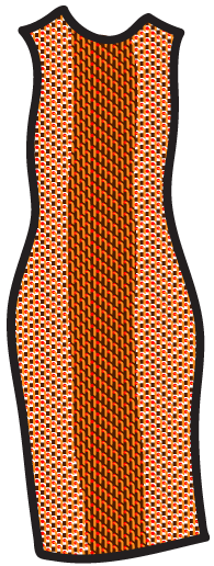 A geometric pattern on a tube/sheath dress.