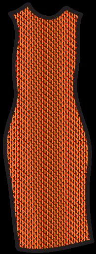 A geometric pattern on a tube/sheath dress.