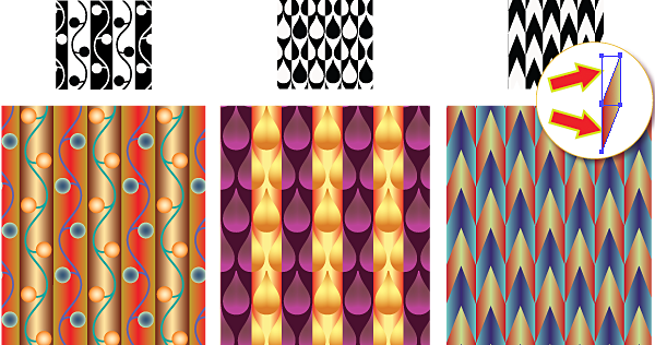 Counterchange patterns from H.J. Woods re-created with SymmetryWorks