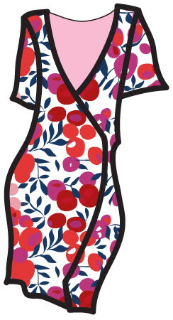 A Liberty-style pattern on a wrap dress.