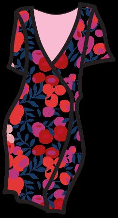 A Liberty-style pattern on a wrap dress.